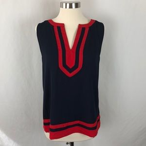 41 Hawthorn sleeveless navy blue and red blouse